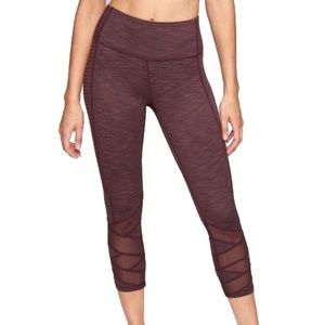 Athleta Jacquard Maroon Mesh Crop Leggings Size XL